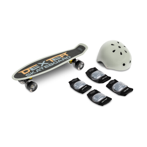 Skateboard cu casca, cotiere si genunchiere Toyz DEXTER Gri
