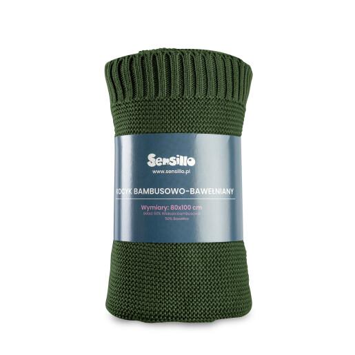 Paturica de bumbac si bambus Sensillo 100x80 cm Verde Inchis
