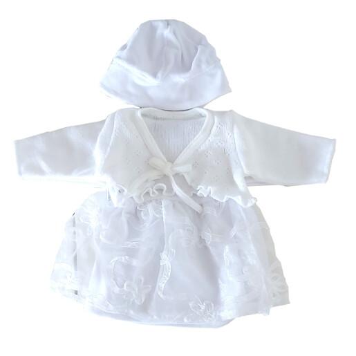 Set rochita+bolero fetite bumbac 80% Rabella EMILIA 0514 marimea 56 alb