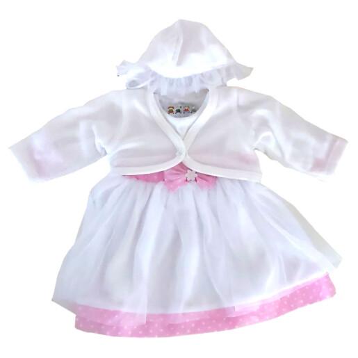 Set rochita+bolero fetite bumbac 80% Rabella MARTA 0106 marimea 68 alb/roz
