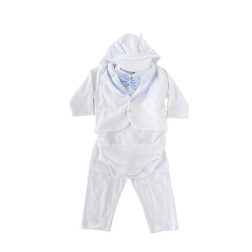 Costum cu papion si sapca baieti bumbac 100% Rabella FILIP 0150 marimea 68 alb/albastru