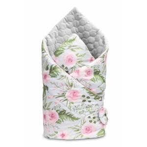 Paturica nou-nascut Sensillo Velvet Wrap Flori Gri 75x75 cm