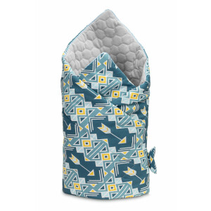 Paturica nou-nascut Sensillo Velvet Wrap Ornamente Albastre 75x75 cm