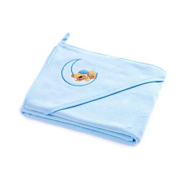 Prosop de bumbac cu gluga Sensillo BEAR 100x100 cm Albastru